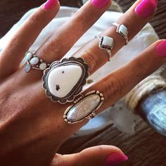 I love this elongating druzy ring! The big, chunky, white stone ring is cool, too.