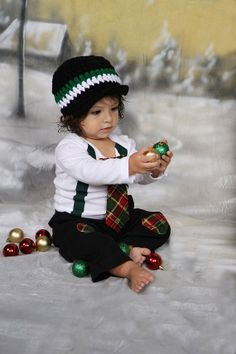 PLAID - Baby Boy Tie Bodysuit with suspenders- Phot Prop, Baby Holiday, Christmas Plaid
