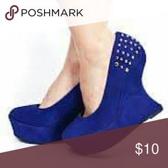 Blue anti-gravity wedge 4in wedge  Anti Gravity  Spiked accessories  Faux suede materials  True to size Shoes Wedges