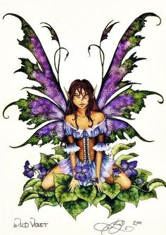 Amy Brown so my girl! ~ Wild Violet Fairy Print from 2001 by Amy Brown. Measures x 11 inches. Amy Brown Fairies, Elves And Fairies, Dark Fairies, Fantasy Fairies, Elves Fantasy, Dragons, Kobold, Fairy Pictures, Love Fairy
