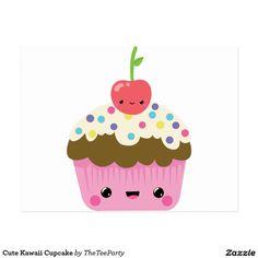 Shop Cute Kawaii Cupcake Postcard created by TheTeeParty. Kawaii Crush, Smiley Happy, Cute Cupcakes, Cartoon Cupcakes, Cute Images, Cute Illustration, Postcard Size, Felt Crafts, Custom Stickers