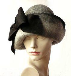 Grey cloche felt hat felted hat felt hats retro by Feltpoint