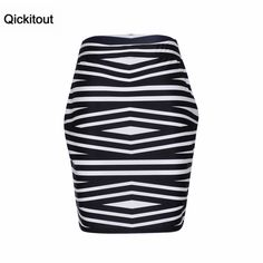 Qickitout Package Hip Skirt 2016 Hot Sale Women's High Waist Sexy 3D Print Skirts Fashion Black white stripes printing Skirt
