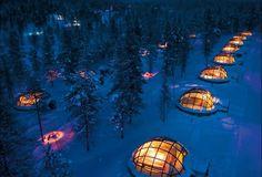 Glass Igloo Village in the Kakslauttanen Hotel in Saariselka, Finland.
