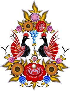Folk Gorodets painting from Russia. Floral pattern with two birds. Vector…