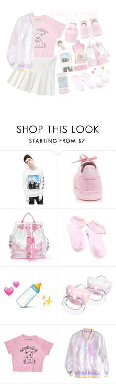 """*. [ i feel v v little rn ] .*"" by aesthetic-princess ❤ liked on Polyvore featuring adidas, Hello Kitty, Bebe and Disney"