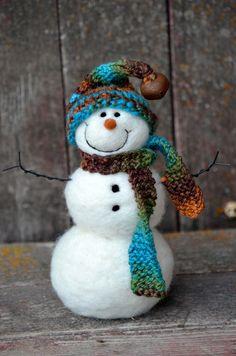 Snowman Needle Felted Snowmen Solid Wool 434 by BearCreekDesign
