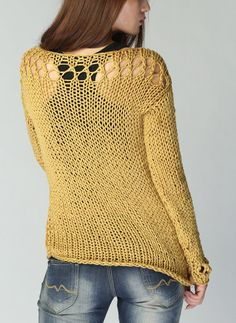 Feminine and romantic! This sweater is long version of my new style little cover top! It is stylelish and unique. I used high quality 100% super soft cotton chunky yarn in a nice Mustard yellow color . It has a unique details at neckline and sleeves. Suitable for everyday use as well as