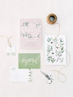 charming wedding invitation with floral details