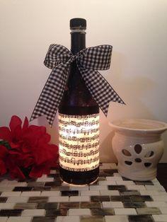 Music Notes wine bottle lamp, bottle lamp, night light, music decor, music art… #winebottle