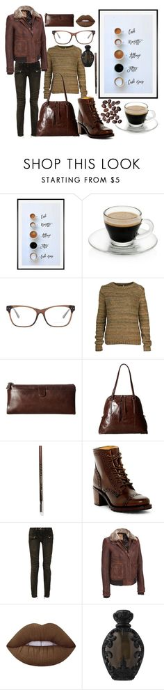 """""""Café Noir"""" by lily-mitchell ❤ liked on Polyvore featuring Pottery Barn, Bottega Veneta, Ready to Fish by Ilja, HOBO, L.A. Girl, Frye, Balmain, Wilsons Leather, Lime Crime and Kat Von D"""