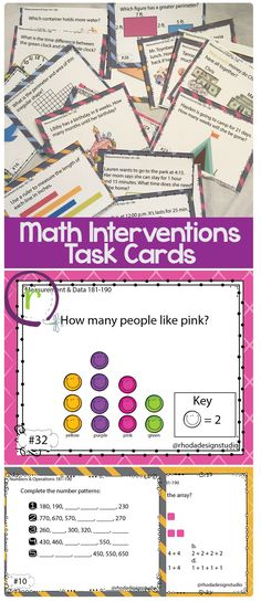 Math Interventions Classroom NWEA RIT Band 180-191: Operations and Algebraic Thinking, Numbers and Operations, and Measurement and Data.  These math task cards can be used as review, for test prep, independent centers, or to assess skills that your students need to master.