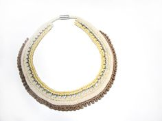 Crochet chain necklace in shades of cream with mini pompom in tan