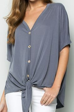 This ultra soft, AMERICAN MADE, front tie top can be dressed up or down for any day to evening transition! Holiday Outfits, Trendy Outfits, Fashion Outfits, Fashion Tips, Fashion Design, Drape Gowns, What To Wear Today, Front Tie Top, Ladies Dress Design