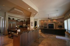pictures of open floor plans including living room, kitchen and dining room | Classic Open Plan Living Room to Kitchen with Antique White Oak