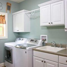 washer top loading with dryer, utility sink, rod and some storage....(utility sink can be free standing)