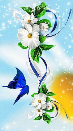 flowers wallpaper by georgekev - - Free on ZEDGE™ Rose Flower Wallpaper, Flower Background Wallpaper, Butterfly Wallpaper, Cute Wallpaper Backgrounds, Butterfly Art, Flower Backgrounds, Flower Art, Butterflies, Beautiful Wallpaper For Phone