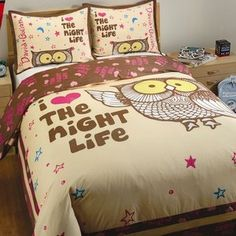 Tengo la pajama que hace juego..........David & Goliath Night Life Duvet Set in Cream and Brown
