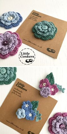 Hand-crocheted eco-friendly flower brooches by Little Conkers. Made in 100% recycled cotton.