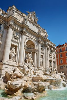 Popular travel destination, Rome in Italy. Shown here, the marvelous Trevi fountain
