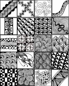 A collection of printable sheets to serve as a quick reference for zentangle patterns. Description from gocraftsomething.blogspot.com. I searched for this on bing.com/images