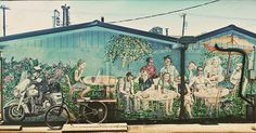 Some public art is less public than most. You'll only see this if you park round back of the Nashville Biscuit House. I played with filters to highlight the details, which I love, like the two guys checking their phones! #nashvilleart #nashville #publicart #lotsoffilters #mural