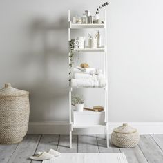 Bathroom Ladder Shelf from The White Company Bathroom Ladder Shelf White Ladder Shelf, Bathroom Storage Ladder, White Bathroom Shelves, Small Bathroom Organization, Bathroom Organisation, Bathroom Cabinets, Bathroom Furniture, Ladder Shelves, Home Decor