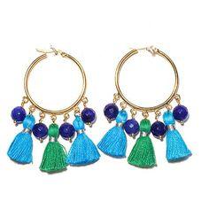 Cabana Tassel Hoop Earrings, Turquoise & Green