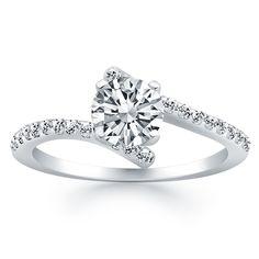 14K White Gold Open Shank Bypass Diamond Engagement Ring