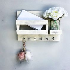 Mail Organizer Flowers Included Distress White Key & Mail