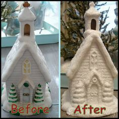 Spray Painted Wintry Church - buy inexpensive Christmas decorations and update them by spray painting them all white!