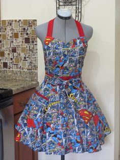 Sale Superman Apron with a hint of Red  Full by ApronsByVittoria, $35.00