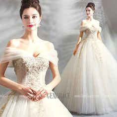 7f49dec62f0 Luxury Embroidery Beige Ball Gown Wedding Dress Princess With Off Shoulder   T69085 at GemGrace.