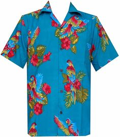 Alvish Hawaiian Shirt 39 Mens Parrot Print Beach Aloha Party Turquoise L Aloha Party, Beach Casual, Leaf Prints, Parrot, Size Chart, Short Sleeves, Button Down Shirt, Men Casual, Turquoise