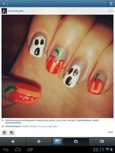 Nail art halloween.. pumpkin
