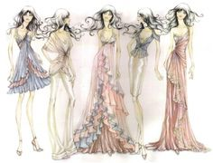 Light and airy drawings, very delicate and suits the fashion style