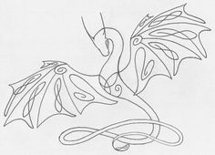 Celtic Knotwork Wyvern by ~shiari on deviantART  Neat idea having an entire animal out of on continuous line. Don't know about the Celtic knot though.