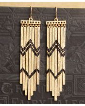 Geranium Tribal Beat Chevron Printed Bar Earrings