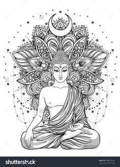Sitting Buddha Statue over ornate mandala inspired pattern. Sitting Buddha Statue over ornate mandala inspired pattern. Inverno nadjainverno Malen Sitting Buddha Statue over ornate mandala […] tattoo indian Buddha Tattoo Design, Buddha Tattoos, Body Art Tattoos, Hand Tattoos, Sleeve Tattoos, Tatoos, Mandala Design, Mandala Art, Mandala Tattoo