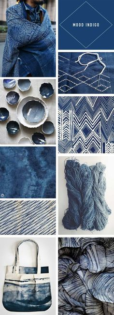 Fabric Designs Trend Story: Going deep with indigo - Think. - Indigo trend story featuring images from fashion, home décor, design, and crafting communities inspired by this deep color and its global roots. Azul Indigo, Bleu Indigo, Indigo Dye, Indigo Colour, Colour Schemes, Color Trends, Color Combos, Design Trends, Pantone