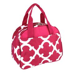Monogrammed Lunch Bag Pink Quatrefoil by DoubleBEmbroidery on Etsy