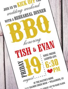 BBQ Rehearsal Dinner Invitation  FEATURED on the front by Sassyrae, $18.00
