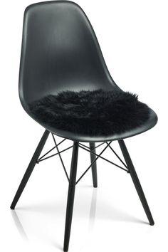 Schaffell-Sitzauflage Daisy – schwarz Ø38 cm 001