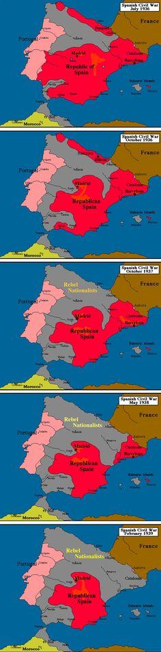 """Spanish Civil War Maps 1936-1939   """"  pues que raro pero los rojos estan de rojo  , despues de matar a..........................................."""