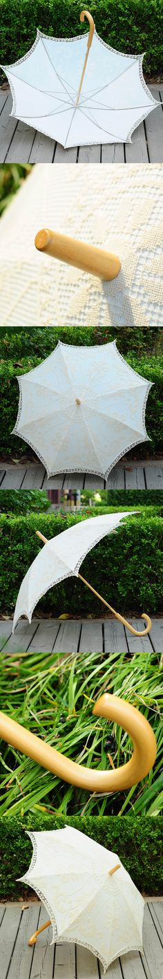 Hot Sale Beige Handmade Craft Lace Umbrella Embroidered Cotton Umbrella Photography Wedding Props Decorated Classical Umbrella