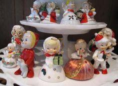 Christmas figures displayed on a cake plate