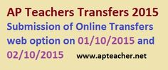 Confirmation, Web Option of AP Teachers Transfers 2015 Application Online http://cse.ap.gov.in, Web options, Teachers Transfers Application Confirmation on 1st September 2015 and 2nd September 2015, Teachers Clear and Tentative Vacancy List