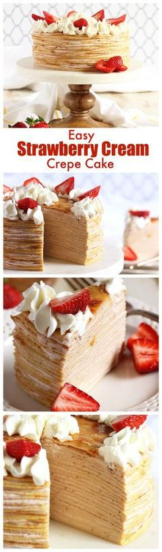 No baking required to make this easy Strawberry Cream Crepe Cake recipe. Perfect for spring entertaining!   @suburbbansoapbox