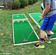 DIY Mini Putt Course Ryobi Tool Giveaway: DIY Backyard Games for the Whole Family - Will Make Summer Even More Awesome! These outdoor games are perfect for your next BBQ or picnic! Backyard Games Kids, Diy Yard Games, Garden Games, Outdoor Games For Kids, Outdoor Toys, Lawn Games, Backyard Ideas, Backyard Playground, Diy Games