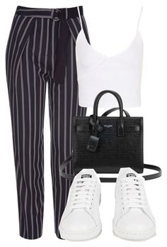 """Untitled #1453"" by morggz ❤ liked on Polyvore featuring Topshop, Yves Saint Laurent and adidas"